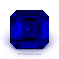 Art Masters Gems Standard 1.0 Ct Asscher Blue Sapphire Created Gemstone ACG100-BS