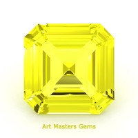 Art Masters Gems Standard 1.0 Ct Asscher Yellow Sapphire Created Gemstone ACG100-YS