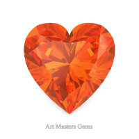 Art Masters Gems Standard 1.0 Ct Heart Orange Sapphire Created Gemstone HCG100-OS