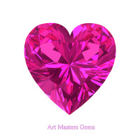 Art Masters Gems Standard 1.0 Ct Heart Pink Sapphire Created Gemstone HCG100-PS