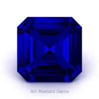 Art Masters Gems Standard 1.5 Ct Asscher Blue Sapphire Created Gemstone ACG150-BS