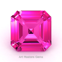 Art Masters Gems Standard 1.5 Ct Asscher Pink Sapphire Created Gemstone ACG150-PS