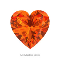 Art Masters Gems Standard 2.0 Ct Heart Orange Sapphire Created Gemstone HCG200-OS