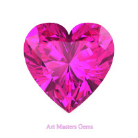 Art Masters Gems Standard 2.0 Ct Heart Pink Sapphire Created Gemstone HCG200-PS
