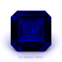 Art Masters Gems Standard 3.0 Ct Asscher Blue Sapphire Created Gemstone ACG300-BS