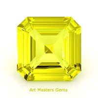 Art Masters Gems Standard 3.0 Ct Asscher Yellow Sapphire Created Gemstone ACG300-YS