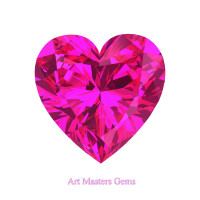 Art Masters Gems Standard 3.0 Ct Heart Pink Sapphire Created Gemstone HCG300-PS