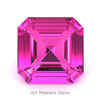 Art Masters Gems Standard 3.0 Ct Royal Asscher Pink Sapphire Created Gemstone RACG300-PS