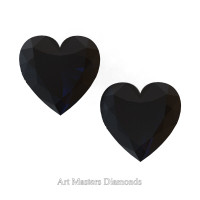 Art Masters Gems Set of Two Standard 0.75 Ct Heart Black Diamond Zirconium Created Gemstones HCG075S-BD