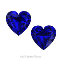 Art Masters Gems Set of Two Standard 0.75 Ct Heart Blue Sapphire Created Gemstones HCG075S-BS