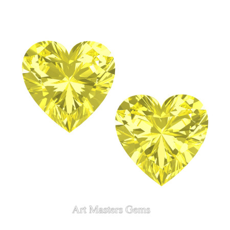 Art-Masters-Gems-Standard-Set-of-Two-0-7-5-Carat-Heart-Cut-Canary-Yellow-Sapphire-Created-Gemstones-HCG075S-CYS-T
