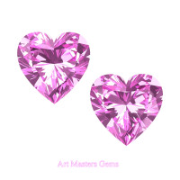 Art Masters Gems Set of Two Standard 0.75 Ct Heart Light Pink Sapphire Created Gemstones HCG075S-LPS