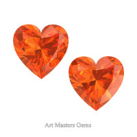 Art Masters Gems Set of Two Standard 0.75 Ct Heart Orange Sapphire Created Gemstones HCG075S-OS