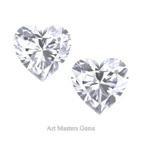 Art Masters Gems Set of Two Standard 1.0 Ct Heart White Sapphire Created Gemstones HCG100S-WS