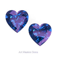Art Masters Gems Set of Two Standard 1.5 Ct Heart Alexandrite Created Gemstones HCG150S-AL