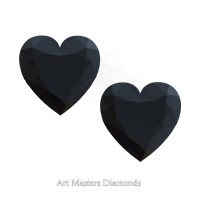Art Masters Gems Set of Two Standard 1.5 Ct Heart Black Diamond Zirconium Created Gemstones HCG150S-BD