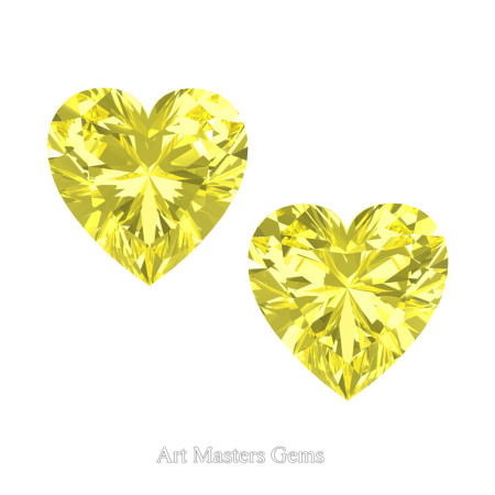 Art-Masters-Gems-Standard-Set-of-Two-1-5-0-Carat-Heart-Cut-Canary-Yellow-Sapphire-Created-Gemstones-HCG150S-CYS-T