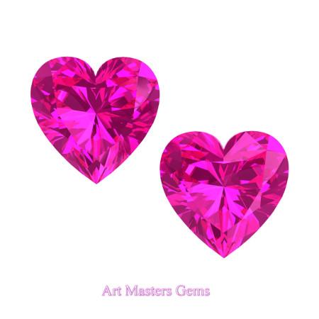 Art-Masters-Gems-Standard-Set-of-Two-1-5-0-Carat-Heart-Cut-Pink-Sapphire-Created-Gemstones-HCG150S-PS-T