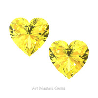 Art Masters Gems Set of Two Standard 1.5 Ct Heart Yellow Sapphire Created Gemstones HCG150S-YS
