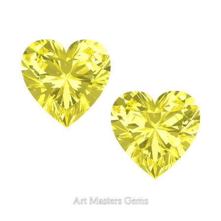Art-Masters-Gems-Standard-Set-of-Two-2-0-0-Carat-Heart-Cut-Canary-Yellow-Sapphire-Created-Gemstones-HCG200S-CYS-T