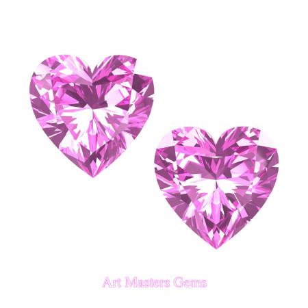 Art-Masters-Gems-Standard-Set-of-Two-2-0-0-Carat-Heart-Cut-Light-PinkSapphire-Created-Gemstones-HCG200S-LPS-T
