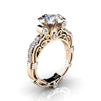Art Masters Michelangelo 14K Rose Gold 1.0 Ct Certified Diamond Engagement Ring R723-14KRGCVSD