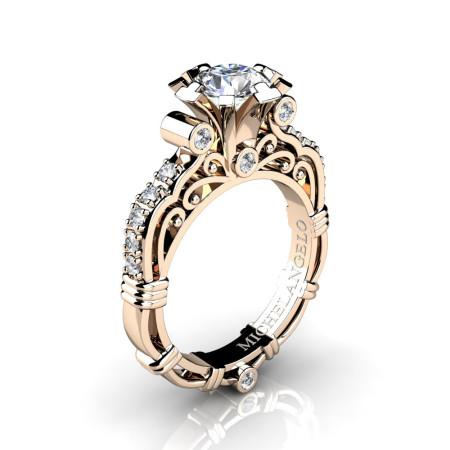 Art Masters Michelangelo 14K Rose Gold 1.0 Ct Certified Diamond Engagement Ring R723-14KRGCVSD