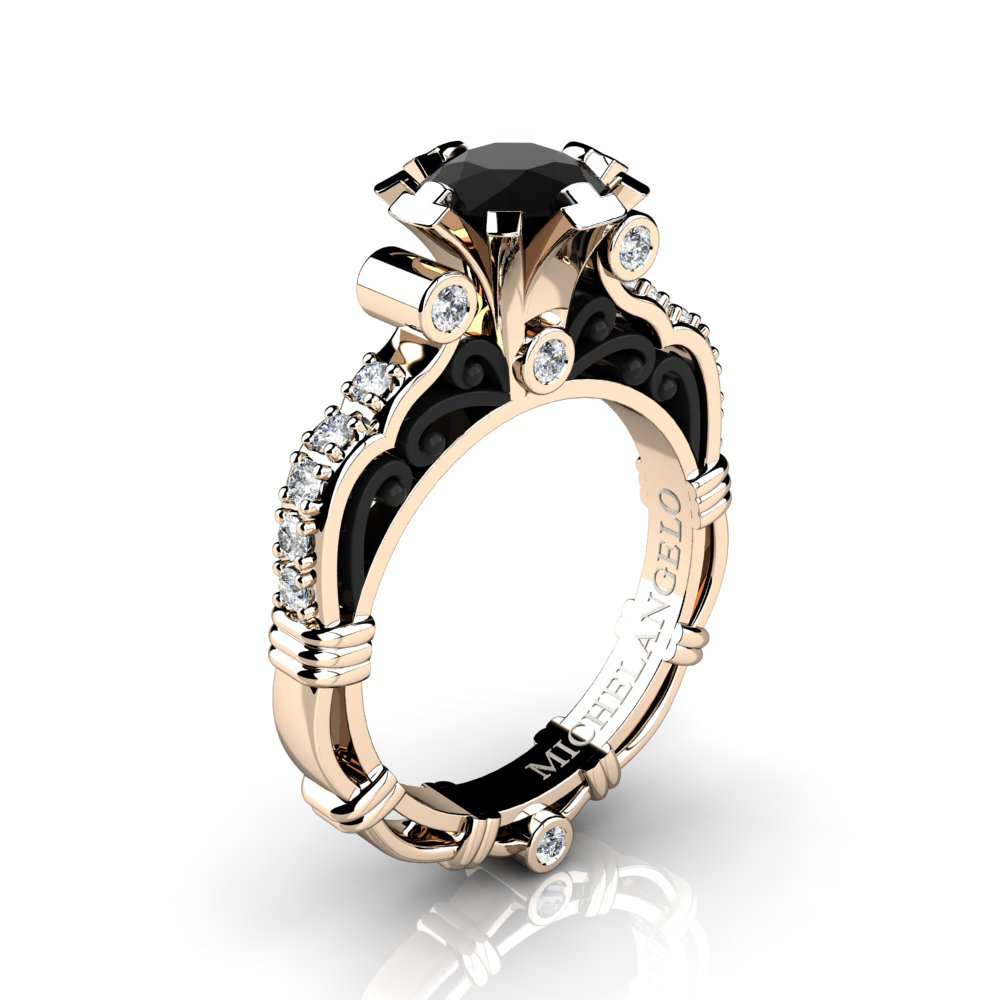 Art Masters Michelangelo 14k Two Tone Rose Gold 1 0 Ct Black And White Diamond Engagement Ring R723 14krbgdbd Caravaggio Jewelry