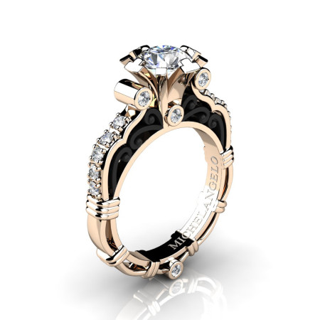 Art Masters Michelangelo 14K Two Tone Rose Gold 1.0 Ct White Sapphire Diamond Engagement Ring R723-14KRBGDWS