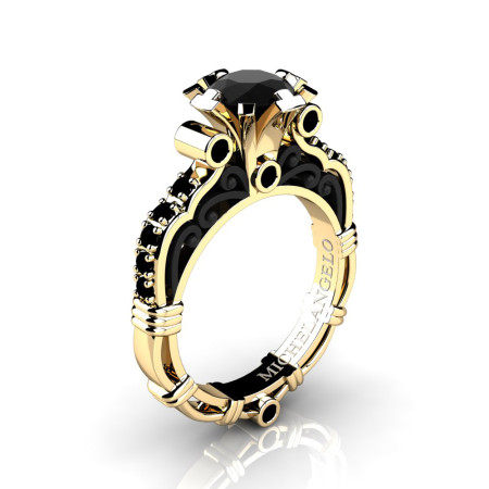 Art Masters Michelangelo 14K Two Tone Yellow Gold 1.0 Ct Black Diamond Engagement Ring R723-14KYBGBD