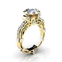 Art Masters Michelangelo 14K Yellow Gold 1.0 Ct Certified Diamond Engagement Ring R723-14KYGCVSD