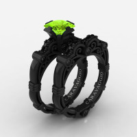 Art Masters Caravaggio 14K Black Gold 1.25 Ct Princess Peridot Black Diamond Engagement Ring Wedding Band Set R623PS-14KBGBDP