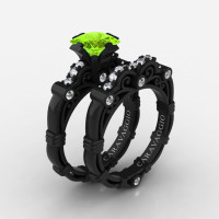 Art Masters Caravaggio 14K Black Gold 1.25 Ct Princess Peridot Diamond Engagement Ring Wedding Band Set R623PS-14KBGDP
