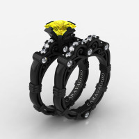 Art Masters Caravaggio 14K Black Gold 1.25 Ct Princess Yellow Sapphire Diamond Engagement Ring Wedding Band Set R623PS-14KBGDYS