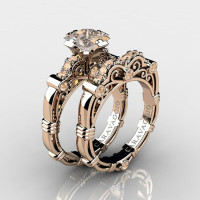 Art Masters Caravaggio 14K Rose Gold 1.25 Ct Princess Champagne Diamond Engagement Ring Wedding Band Set R623PS-14KRGCHD