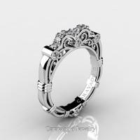 Art Masters Caravaggio 14K White Gold Diamond Wedding Band R623B-14KWGD