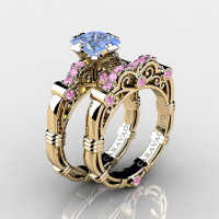 Art Masters Caravaggio 14K Yellow Gold 1.25 Ct Princess Light Blue and Pink Sapphire Engagement Ring Wedding Band Set R623PS-14KYGLPSLBS