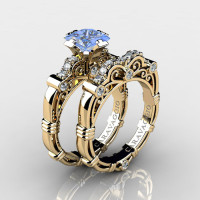 Art Masters Caravaggio 14K Yellow Gold 1.25 Ct Princess Light Blue Sapphire Diamond Engagement Ring Wedding Band Set R623PS-14KYGDLBS