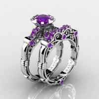 Art Masters Caravaggio 10K White Gold 1.0 Ct Amethyst Engagement Ring Wedding Band Set R623S-10KWGAM