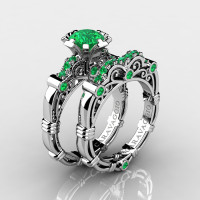 Art Masters Caravaggio 10K White Gold 1.0 Ct Emerald Engagement Ring Wedding Band Set R623S-10KWGEM