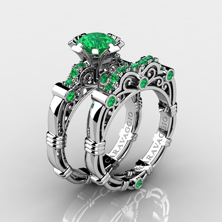 This is a graphic of Art Masters Caravaggio 45K White Gold 45.45 Ct Emerald Engagement Ring Wedding Band Set R45S-45KWGEM