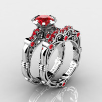Art Masters Caravaggio 10K White Gold 1.0 Ct Ruby Engagement Ring Wedding Band Set R623S-10KWGR