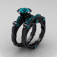 Art Masters Caravaggio 14K Black Gold 1.0 Ct Blue Zircon Engagement Ring Wedding Band Set R623S-14KBGBZ