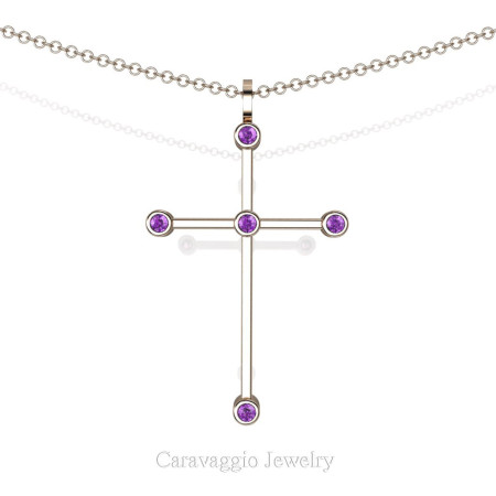 Art-Masters-Caravaggio-14K-Rose-Gold-0.15-Ct-Amethyst-Cross-Pendant-Necklace-16-Chain-C623-14KRGAM-X