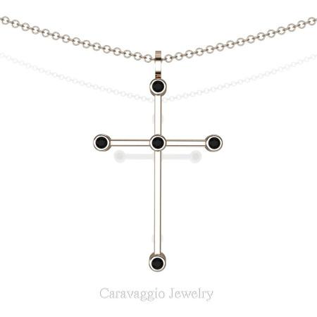Art-Masters-Caravaggio-14K-Rose-Gold-0.15-Ct-Black-Sapphire-Cross-Pendant-Necklace-Chain-C623-14KRGBLS-X