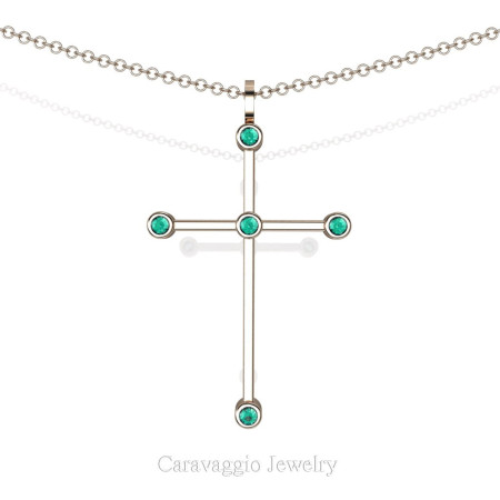 Art-Masters-Caravaggio-14K-Rose-Gold-0.15-Ct-Blue-Zircon-Cross-Pendant-Necklace-Chain-16-Chain-C623-14KRGBZ-X