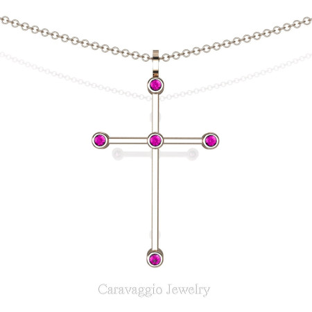 Art-Masters-Caravaggio-14K-Rose-Gold-0.15-Ct-Pink-Sapphire-Cross-Pendant-Necklace-16-Chain-C623-14KRGPS-X
