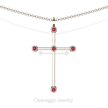 Art-Masters-Caravaggio-14K-Rose-Gold-0.15-Ct-Ruby-Cross-Pendant-Necklace-16-Chain-C623-14KRGR-X2