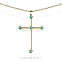 Art Masters Caravaggio 14K Yellow Gold 0.15 Ct Blue Zircon Cross Pendant Necklace 16 Inch Chain C623-14KYGBZ