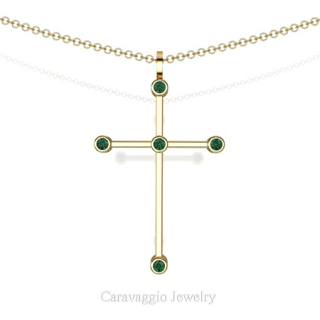 Art-Masters-Caravaggio-14K-Yellow-Gold-0.15-Ct-Emerald-Cross-Pendant-Necklace-16-Chain-C623-14KYGEM-X